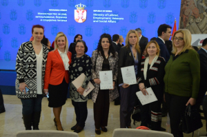 THE MINISTER AWARDED WOMEN FROM LESKOVAC WITH CERTIFICATES FOR HAND WEAVING AND EMBROIDERY